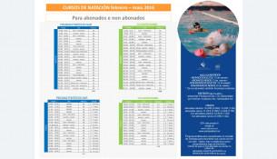 Cursillos de natación febrero – mayo 2.016