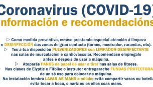 Coronavirus (COVID-19): información e recomendacións para os usuarios das instalacións