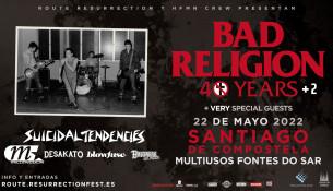 Nueva fecha para el concierto de BAD RELIGION: el 22 de mayo de 2022